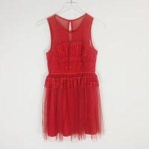 Maniju Red Tulle Ballerina Beaded Dress Sz M